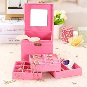 Pink velvet jewelry box with three layers